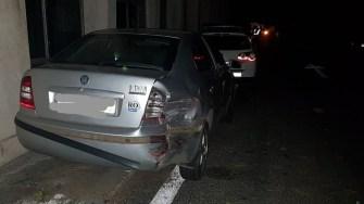 Mașina scăpată de sub control a acroșat un autoturism parcat. FOTO IPJ Constanța