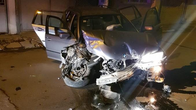 Mașină urmărită, implicată într-un accident la Constanța. FOTO IPJ Constanța