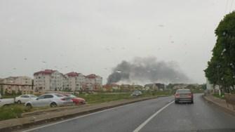 Incendiul se putea vedea de la distanță. FOTO Facebook/Mangalia - Comunitatea Online