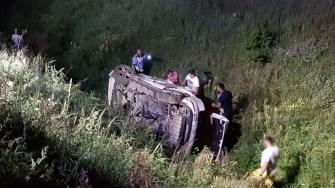 Mașina a părăsit drumul și a căzut într-un canal de irigații. FOTO IPJ Constanța