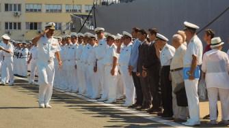 Oficialități militare și civile au asistat în Portul Constanța la sosirea Navei Școală Mircea. FOTO Cătălin SCHIPOR