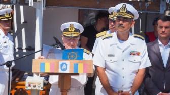Oficiali militari și civili, ofițeri în rezervă, au participat la momentele festive ale întoarcerii acasă a Navei Școală Mircea. FOTO Cătălin SCHIPOR