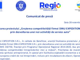 """Finalizarea proiectului """"Creșterea competitivității firmei DINU EXPEDITION SRL prin dezvoltarea unei noi activități de service auto"""""""