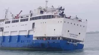 Nava Queen Hind, sub pavilion Palau s-a răsturnat în Portul Midia. FOTO CTnews.ro