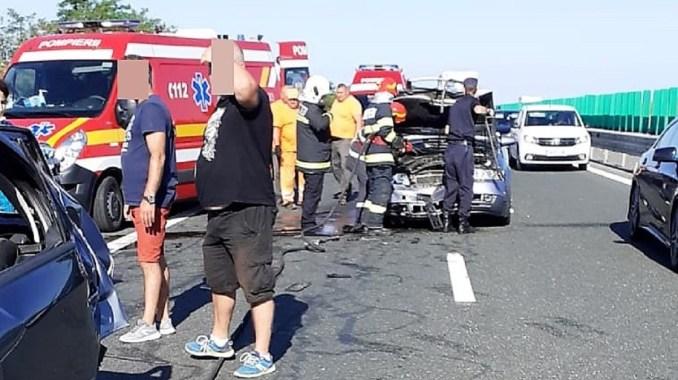 Nouă răniți într-un accident rutier petrecut pe Autostrada A2. FOTO DRDP Constanța