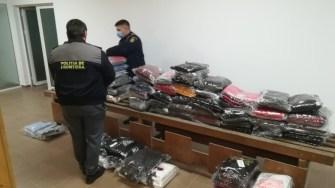 Mărfuri contrafăcute confiscate de polițiștii de frontieră. FOTO arhiva Garda de Coastă