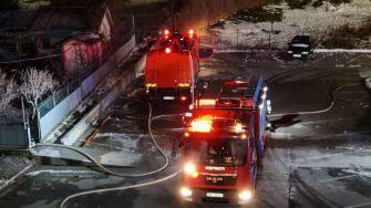 """Explozie urmată de un incendiu în Techirghiol. FOTO ISU """"Dobrogea"""""""