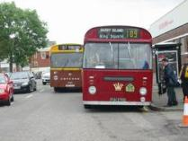 Busy buses queue at the Bus Depot Barry