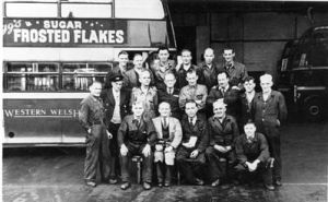 Depot staff photo in the garage circa 1949