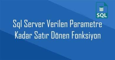 Sql Server Verilen Parametre Kadar Satır Dönen Fonksiyon