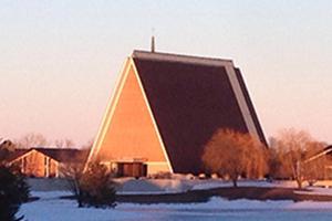 Kramer Chapel on a bright, sunny morning.