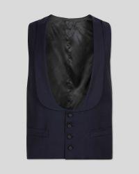 Navy adjustable fit shawl collar tuxedo waistcoat ...