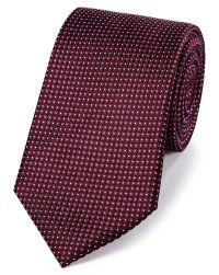 Burgundy silk pindot semi plain classic tie   Charles Tyrwhitt