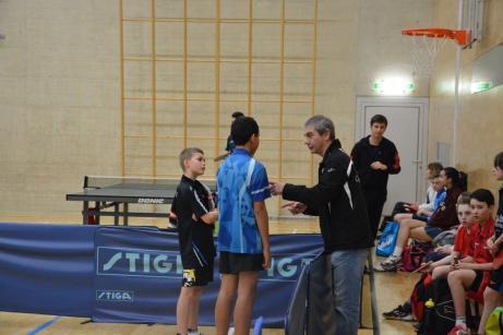 Bastien, Braden (Meyrin) et le coach Bernard