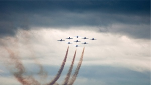 The Snowbirds take flight in Southport, Manitoba. Photo by Marshall Adams.