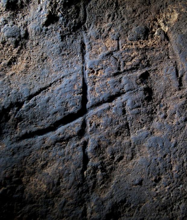 Cave art inside Gorham's Cave