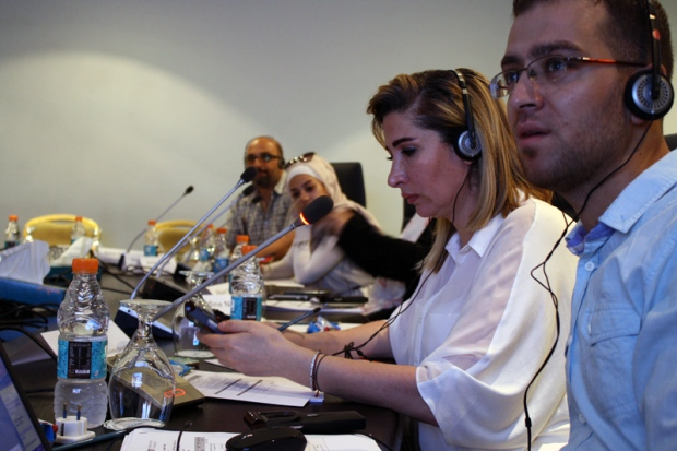 Journalists asking questions at the JHR workshop