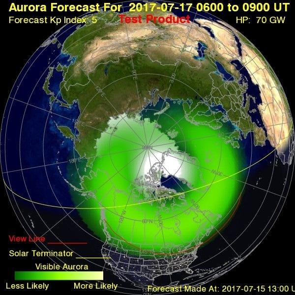 Northern Light Forecast Canada