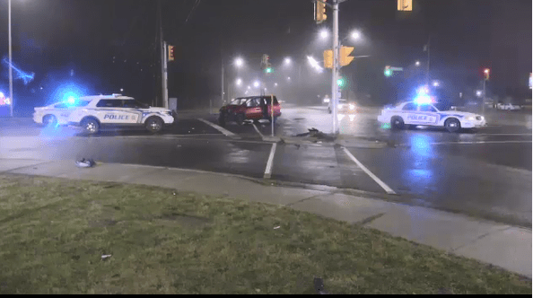 Two vehicle crash at the corner of Southdale and W
