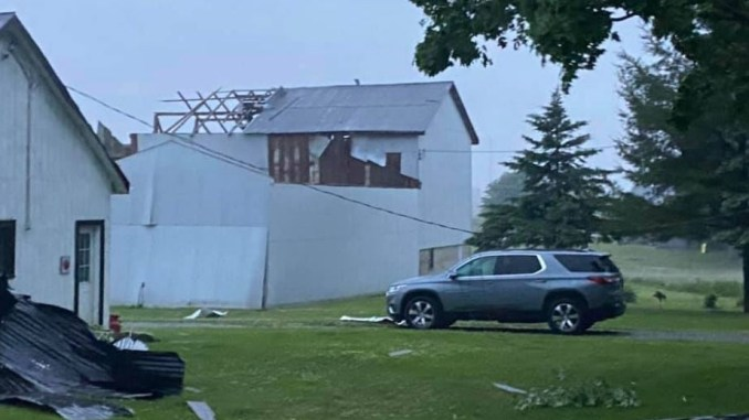 Possible tornado damage in the Belmont Ont.