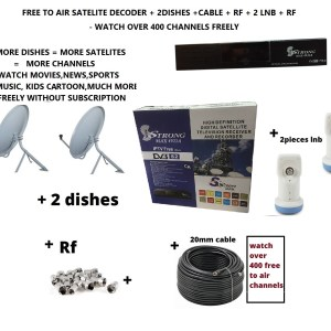 Strongmax 4922A Complete set free to air satelite tv HD decoder RF out loop With 2 Dishes 2lnb Cable Rf Diseq