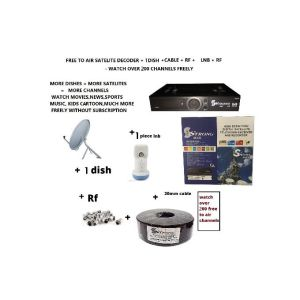 Strong Max Free To Air Satelite Decoder With 1 60cm Dish Lnb Cable Rf complete sets