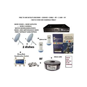 Strong Max Free To Air Satelite Decoder complete kit with 2 60cm Dishes Lnb Cable Rf Diseq