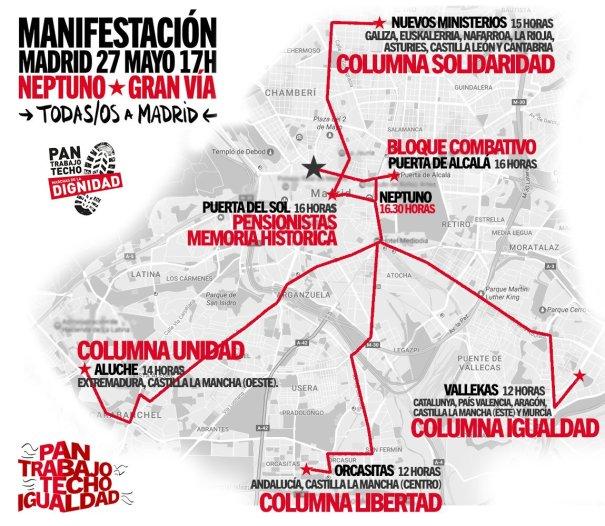 Plano del recorrido que harán las diferentes columnas el 27M.