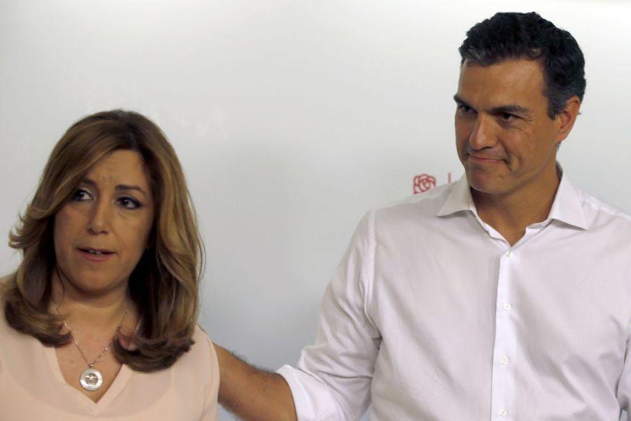 Susana Díaz y Pedro Sánchez aludieron a la unidad del PSOE tras conocer el resultados de la primarias.