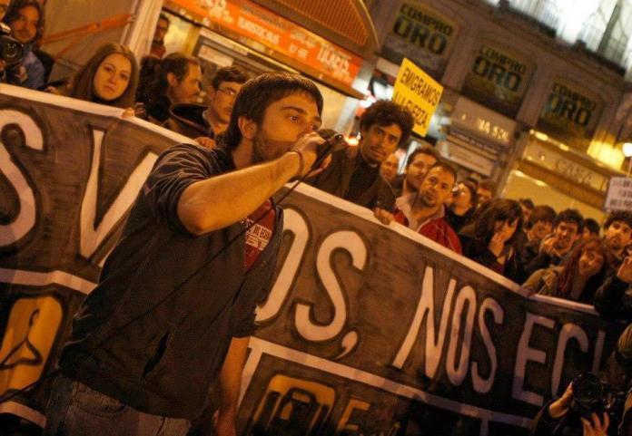 Imagen de Ramón Espinar en una protesta de Juventud Sin Futuro.
