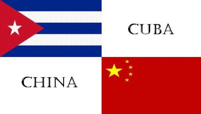 Banderas de Cuba y China