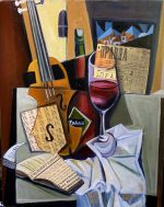 """Antique Violin And Red Wine"" oil and collage on canvas 18"" x 24"""