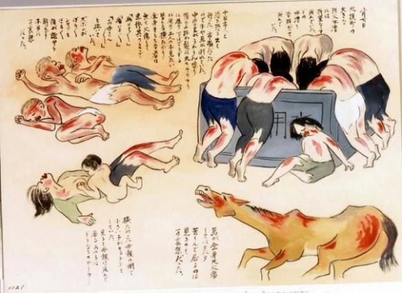 Kihara Toshiko-17-Un caballo agoniza rodeado de cadáveres en un tanque de agua y otros que intentaba llegar a ese tanque para beber, entre ellos una madre y su bebe aun con vida