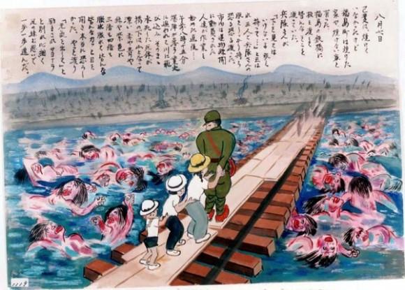 Kihara Toshiko-17-Un soldado ayuda a cruzar el río al autor del dibujo y a sus 2 hermanos mientras miles de cadáveres púrpura flotan en el río
