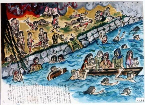 Suga Yoko-14-Cientos de personas tratan de escapar de las llamas saltando al río sin saber nadar, cientos se ahogan y el resto trata de aferrarse a lo que flote