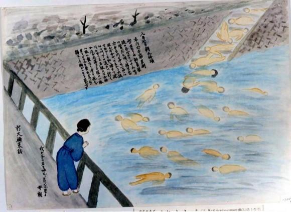 Sumimoto Sueko-37-cadaveres de estudiantes flotando en el río mientras una madre grita el nombre de uno de ellos