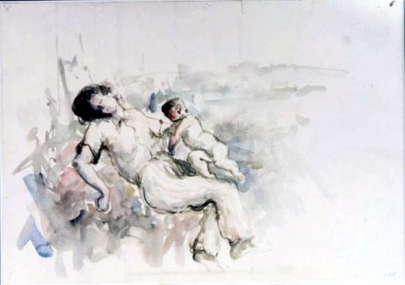 Usagawa Yoshikata-14-Un bebe intenta subir por el cadáver de su madre