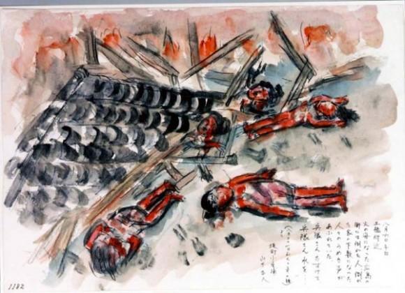 Yamashita Masato-20-Un mar de  fuego rodea los cuerpos quemados de gente a la puerta de sus casas