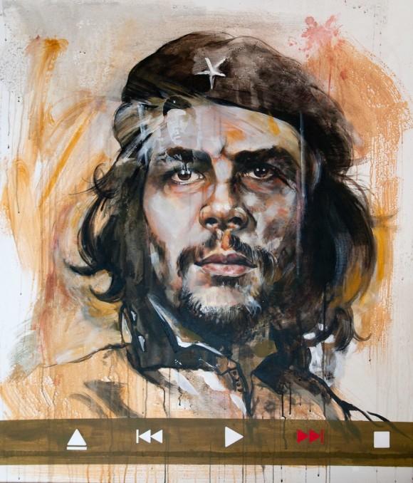 Erik Olivera: Fast Forwrd. Técnica mixta sobre tela, 115 x 100 cm, 2010