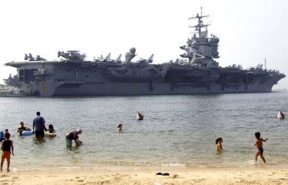 En el canal de Suez. Foto: AFP