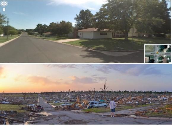 Una foto antes y después del tornado que afectó a Joplin, Missouri el 22 de mayo.