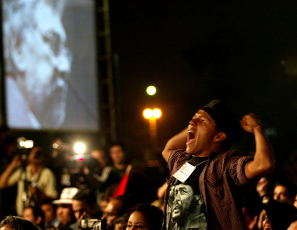 Numerosos jovenes de diferentes paises latinoamericanos asistieron al acto de Presidentes sin Fronteras, celebrado en la sede del Consejo Nacional de Deportes, Asuncion Paraguay. Foto: Ismael Francisco/Cubadebate.