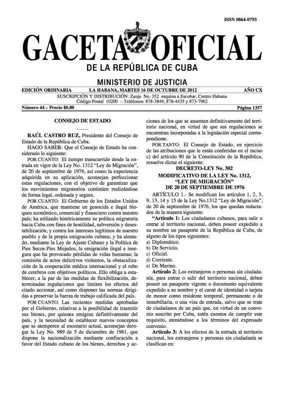 Ley de Migración de Cuba 2012