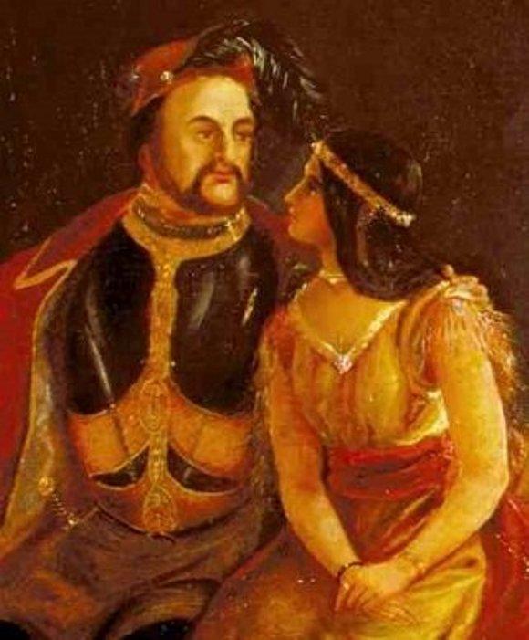 Retrato realizado en 1850 a John Rolfe y Pocahontas antes de casarse.