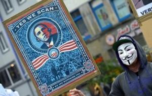 Protesta en Alemania contra el espionaje de Estados Unidos.