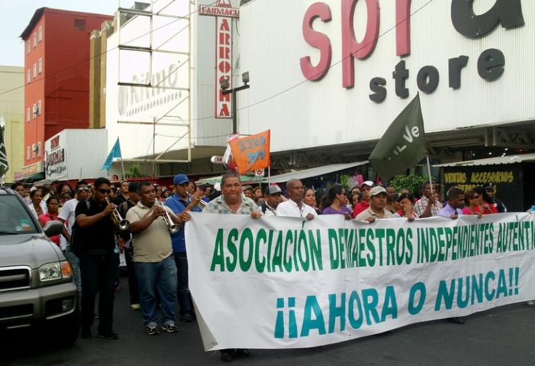 Manifestación de maestros panameños. FOTO: Rafaela Vázquez