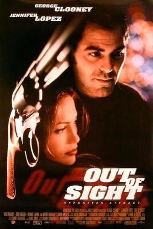 Poster de la película Out of Sight, adaptación cinematográfica de la novela de igual nombre, escrita por Elmore Leonard
