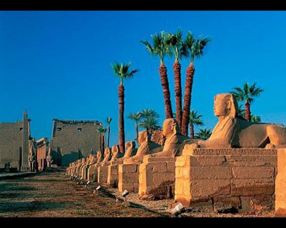 Entre los templos de Luxor y Karnak se encuentra esta gran avenida de más kilómetros de longitud. A ambos lados, custodian el paseo enormes esfinges con cabezas humanas y de carnero.