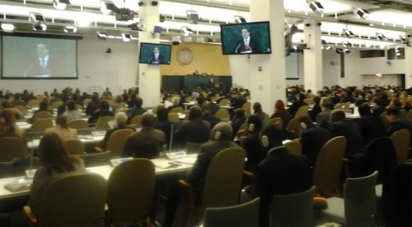 Asamblea de la ONU en Nueva York, durante la intervención del Canciller cubano. Foto: