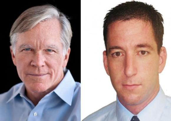 De izquierda a derecha, Bill Keller y Glenn Greenwald.